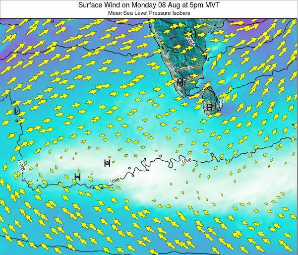 Sri Lanka Surface Wind on Wednesday 22 May at 5pm MVT