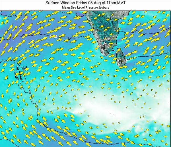 Sri Lanka Surface Wind on Thursday 12 Dec at 5pm MVT
