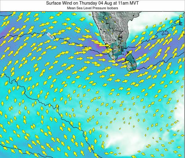 Sri Lanka Surface Wind on Wednesday 23 Jul at 5pm MVT