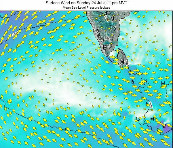 Maldives Surface Wind on Friday 24 May at 5pm MVT map