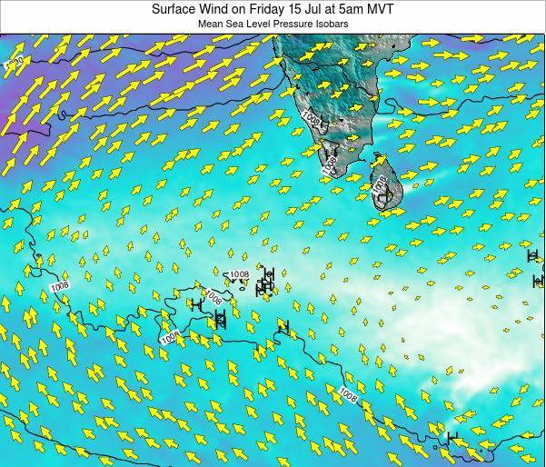 Maldives Surface Wind on Monday 27 May at 5am MVT map
