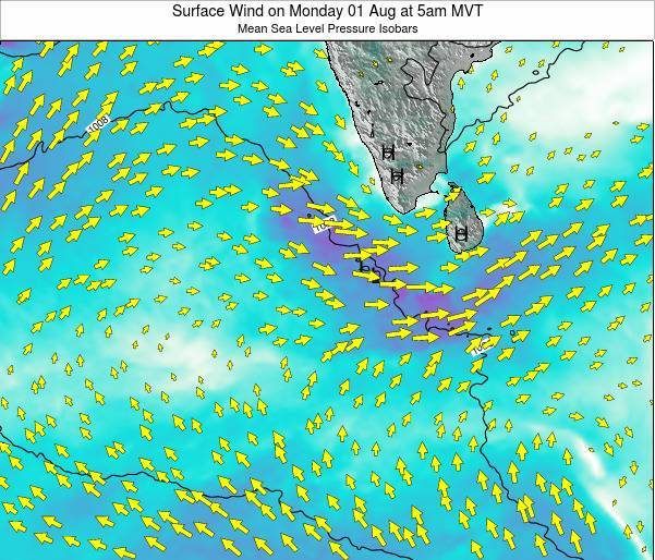 Maldives Surface Wind on Saturday 18 May at 11am MVT