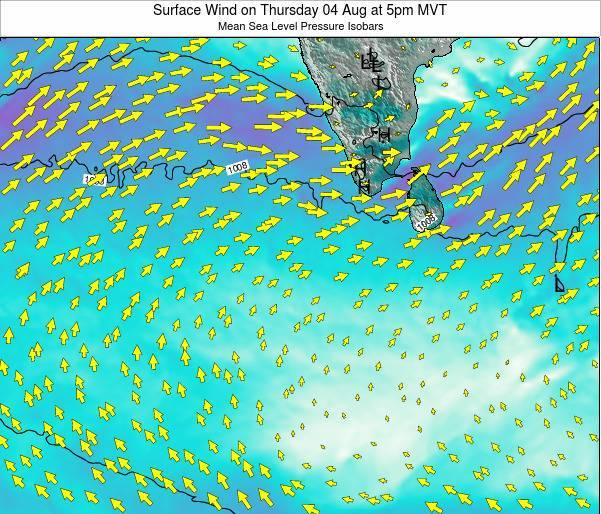 Maldives Surface Wind on Monday 10 Mar at 5pm MVT map