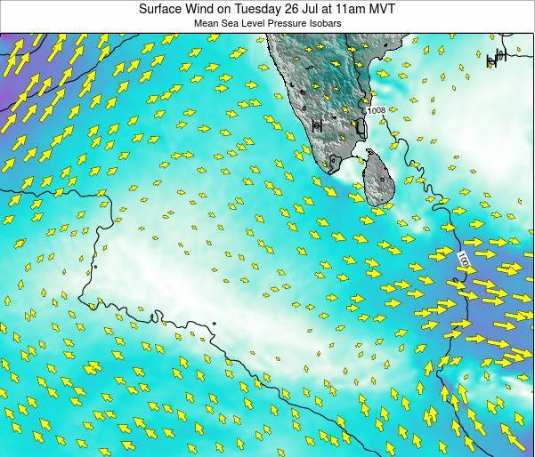 Maldives Surface Wind on Tuesday 22 Apr at 5pm MVT map