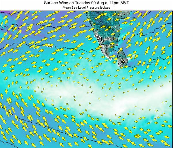 Maldives Surface Wind on Thursday 31 Jul at 5am MVT map
