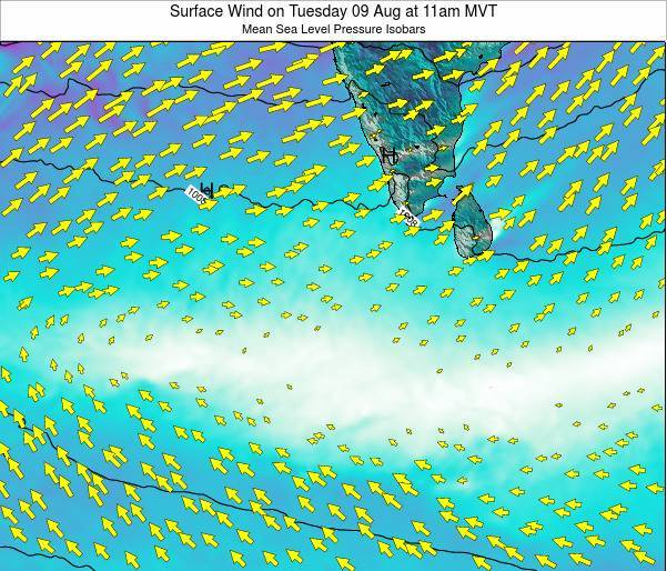 Maldives Surface Wind on Sunday 27 Apr at 11pm MVT map