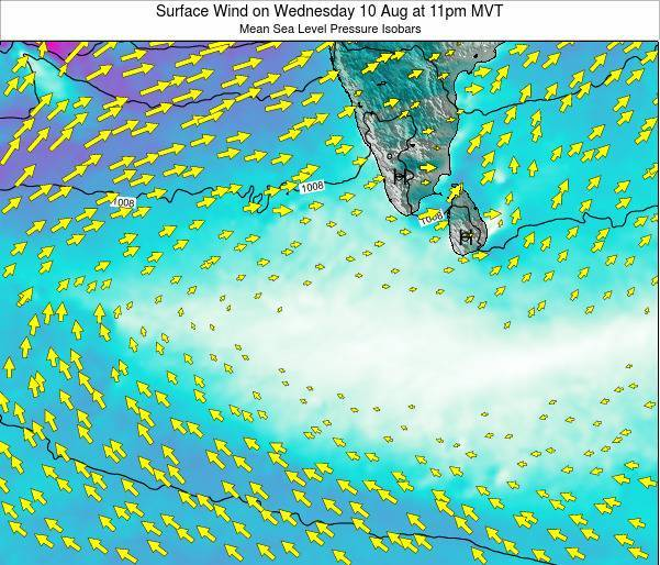 Maldives Surface Wind on Tuesday 21 May at 11pm MVT map