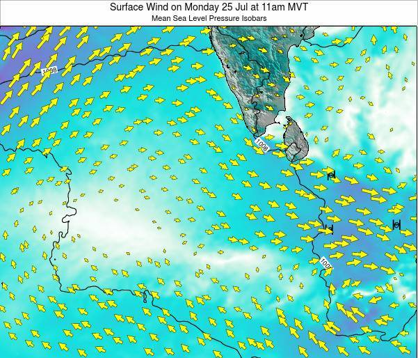 Sri Lanka Surface Wind on Sunday 23 Jun at 11pm MVT