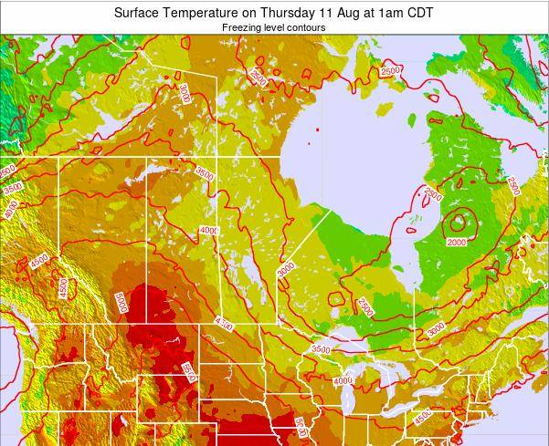 Manitoba Surface Temperature on Thursday 23 May at 1am CDT map