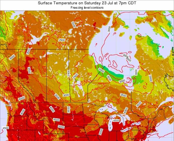 Manitoba Surface Temperature on Tuesday 21 May at 7am CDT map
