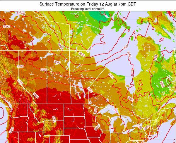 Manitoba Surface Temperature on Saturday 25 May at 7pm CDT map