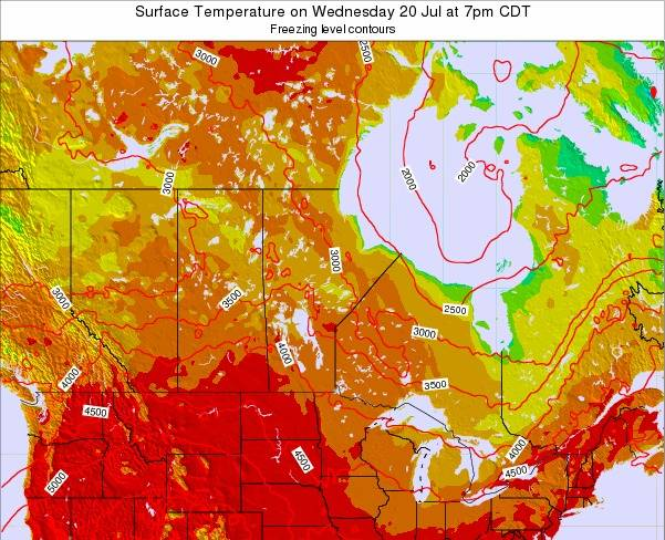 Manitoba Surface Temperature on Tuesday 28 May at 7am CDT map
