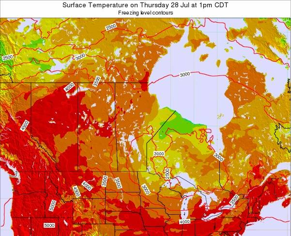 Manitoba Surface Temperature on Sunday 26 May at 1am CDT map