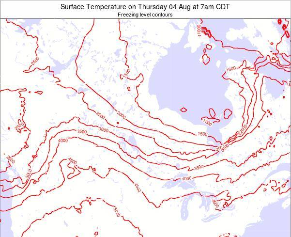 Manitoba Surface Temperature on Saturday 25 May at 1pm CDT map
