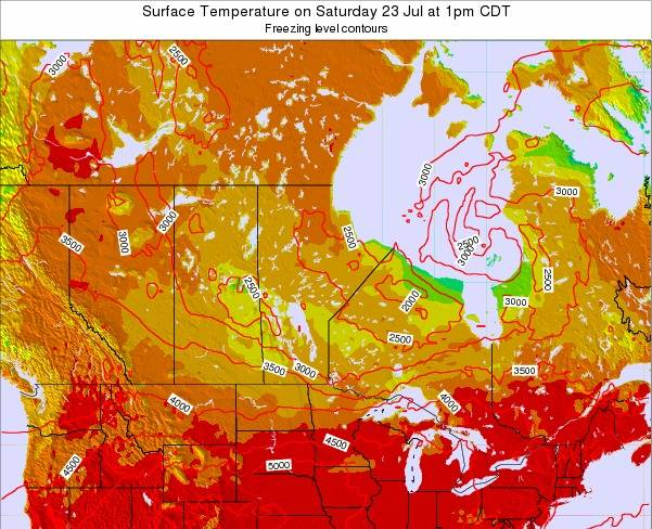 Manitoba Surface Temperature on Sunday 26 May at 7am CDT map