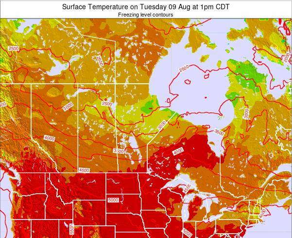 Manitoba Surface Temperature on Monday 27 May at 7am CDT map