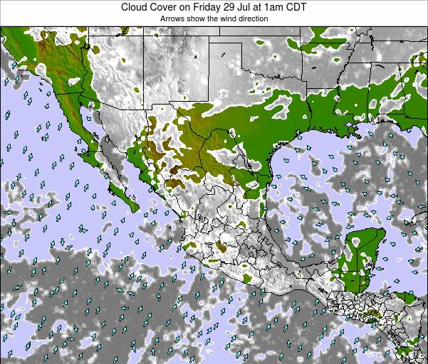 Mexico Cloud Cover on Saturday 25 May at 7am CDT map