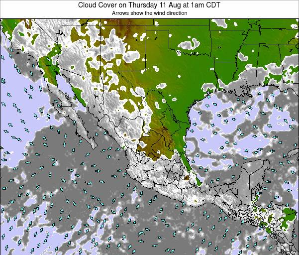 Mexico Cloud Cover on Saturday 25 May at 1pm CDT
