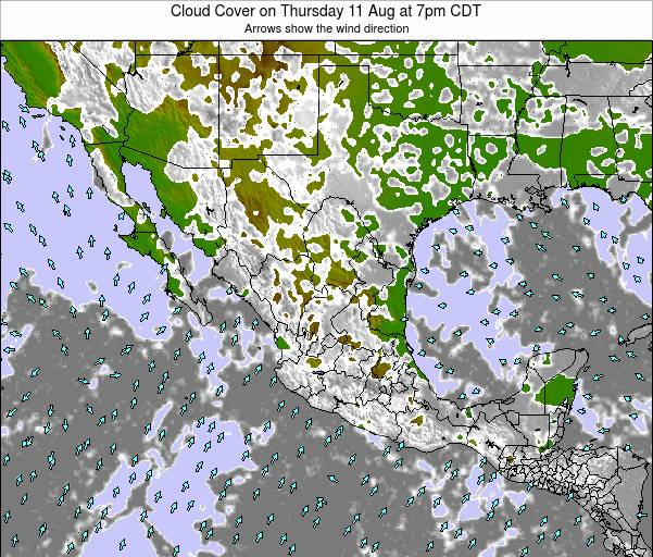 Mexico Cloud Cover on Tuesday 28 May at 7pm CDT map