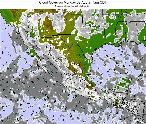 Mexico Cloud Cover on Sunday 26 May at 7am CDT map
