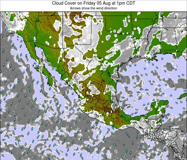 Mexico Cloud Cover on Thursday 23 May at 7am CDT map
