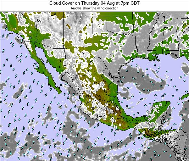 Mexico Cloud Cover on Monday 27 May at 1pm CDT