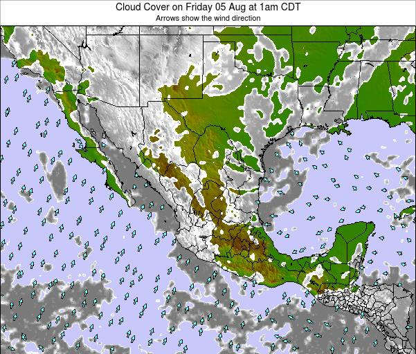 Mexico Cloud Cover on Monday 21 Apr at 7am CDT map