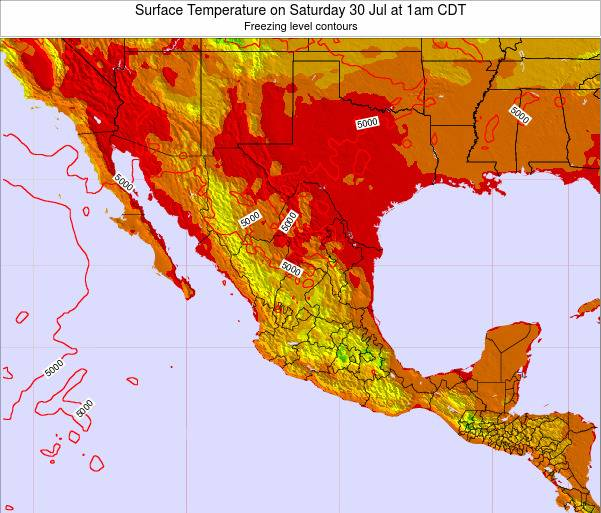 Mexico Surface Temperature on Saturday 07 May at 7am CDT