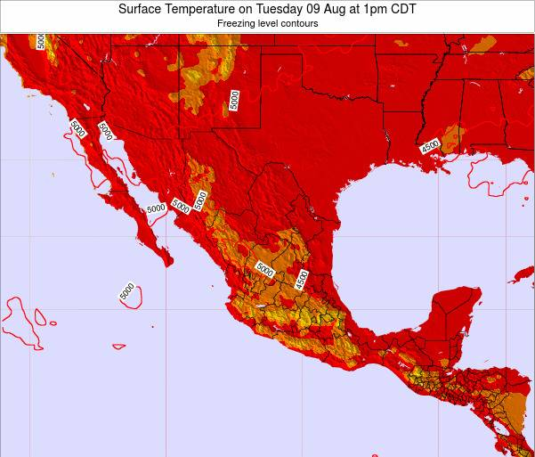 Mexico Surface Temperature on Saturday 07 Mar at 6pm CST