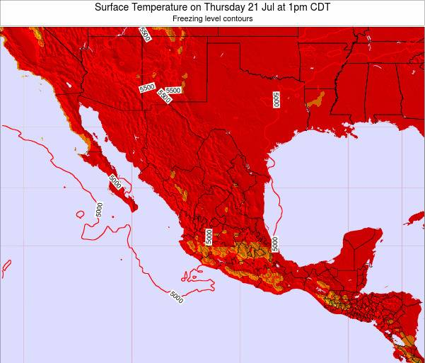 Mexico Surface Temperature on Friday 24 May at 1pm CDT