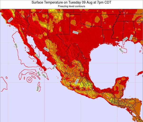 Mexico Surface Temperature on Saturday 28 Jan at 12pm CST