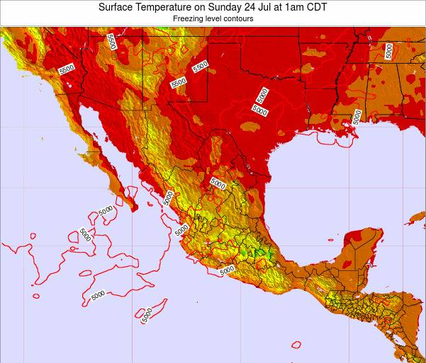 Mexico Surface Temperature on Friday 14 Mar at 6am CST