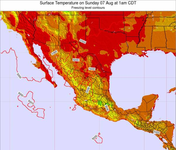 Mexico Surface Temperature on Saturday 14 Dec at 12pm CST