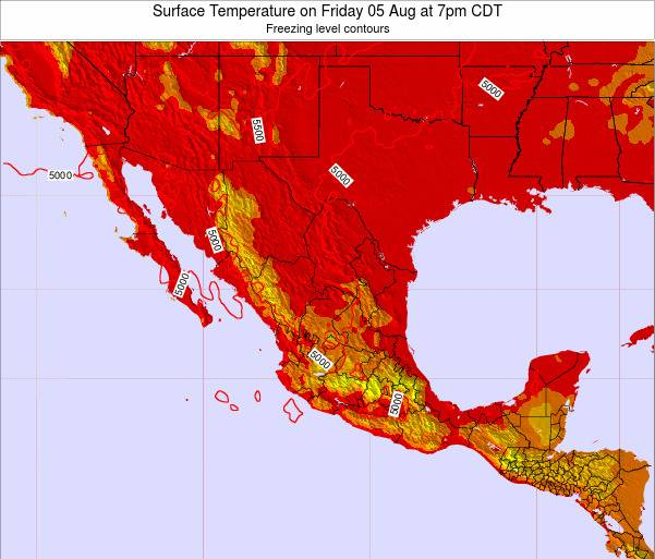 Mexico Surface Temperature on Wednesday 22 May at 7pm CDT map