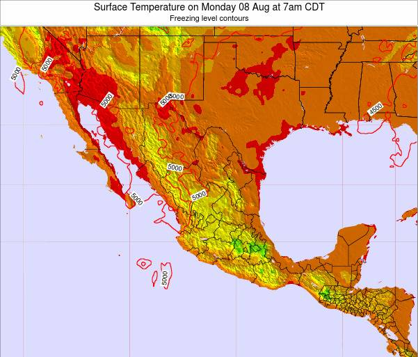 Mexico Surface Temperature on Sunday 07 Sep at 7am CDT
