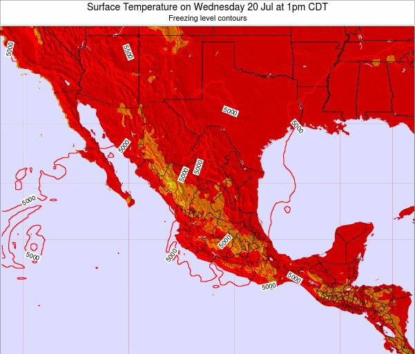 Mexico Surface Temperature on Tuesday 28 May at 7pm CDT map