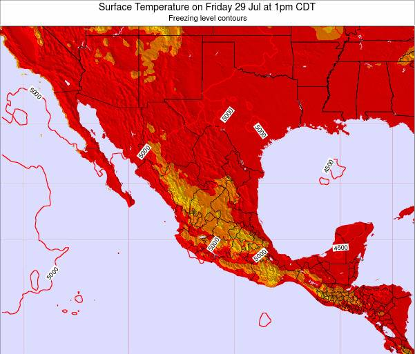 Mexico Surface Temperature on Tuesday 25 Jun at 7am CDT map