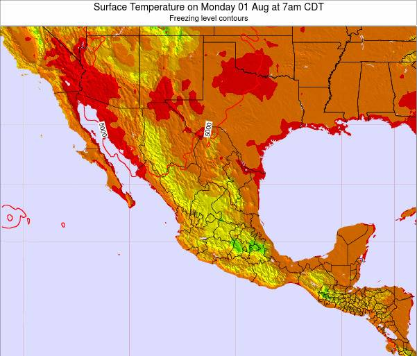 Mexico Surface Temperature on Thursday 23 May at 7pm CDT map