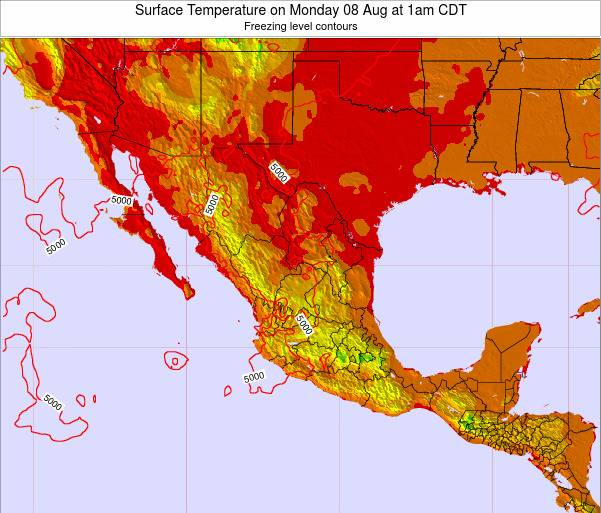 Mexico Surface Temperature on Friday 24 May at 7pm CDT map