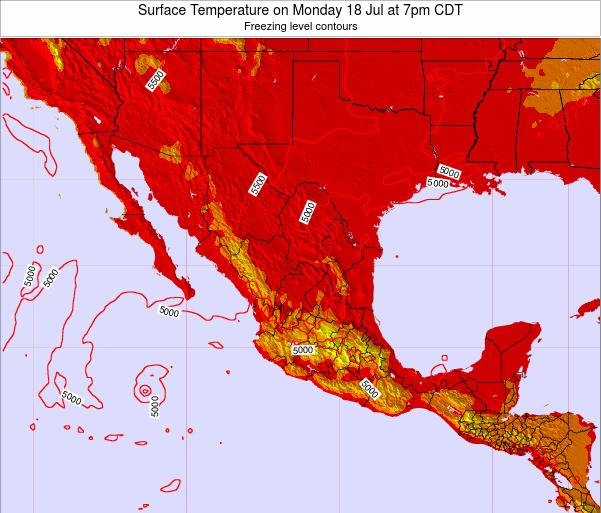 Mexico Surface Temperature on Wednesday 22 May at 1pm CDT map