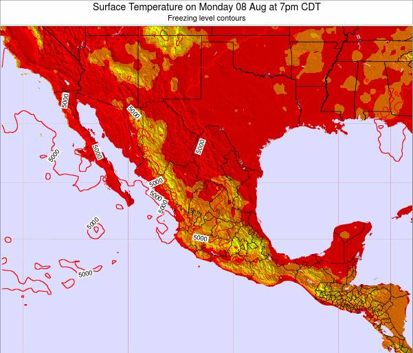 Mexico Surface Temperature on Thursday 23 May at 1am CDT map