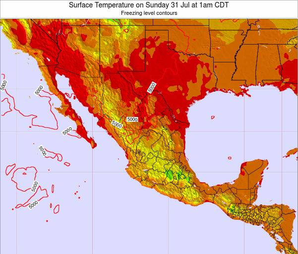 Mexico Surface Temperature on Tuesday 28 May at 1pm CDT map