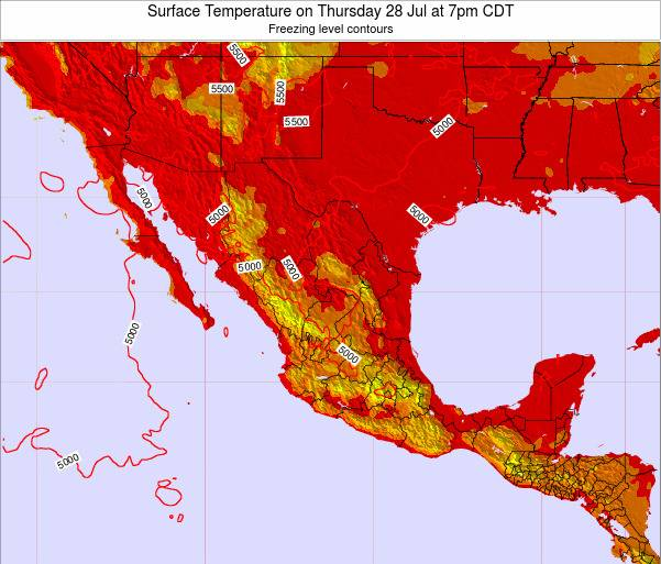 Mexico Surface Temperature on Tuesday 21 May at 7pm CDT map