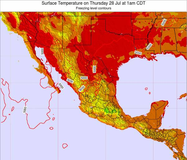 Mexico Surface Temperature on Tuesday 20 Aug at 7am CDT