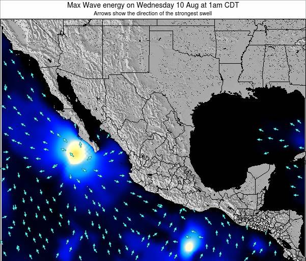 Mexico Max Wave energy on Wednesday 23 Jan at 6pm CST map
