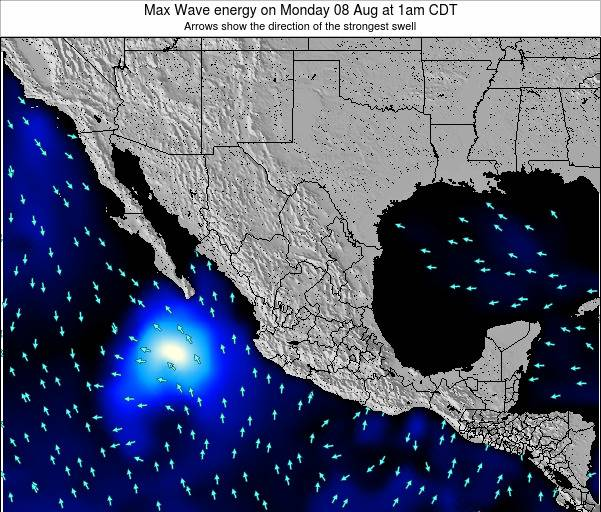 Mexico Max Wave energy on Tuesday 16 Jan at 12pm CST map