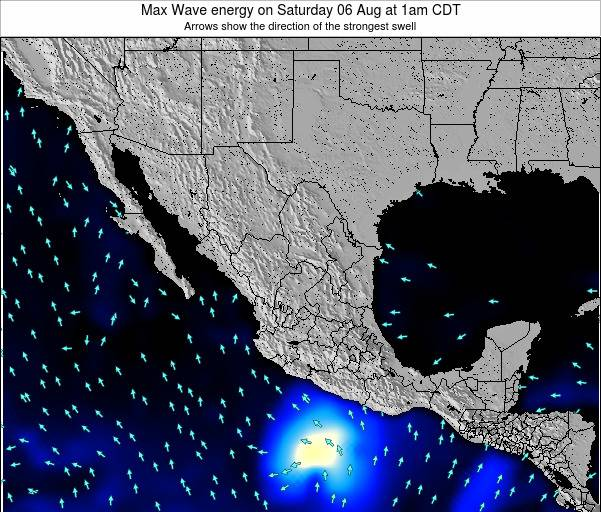 Mexico Max Wave energy on Wednesday 24 Jul at 1am CDT map