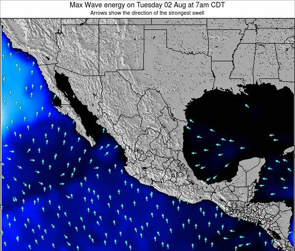 Mexico Max Wave energy on Sunday 22 Jul at 1am CDT map