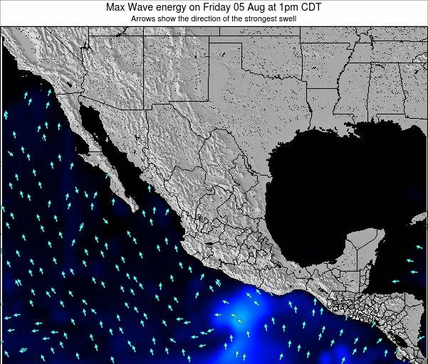 Mexico Max Wave energy on Monday 22 Jul at 1pm CDT map