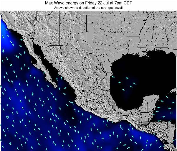 Mexico Max Wave energy on Wednesday 23 Jan at 12pm CST map